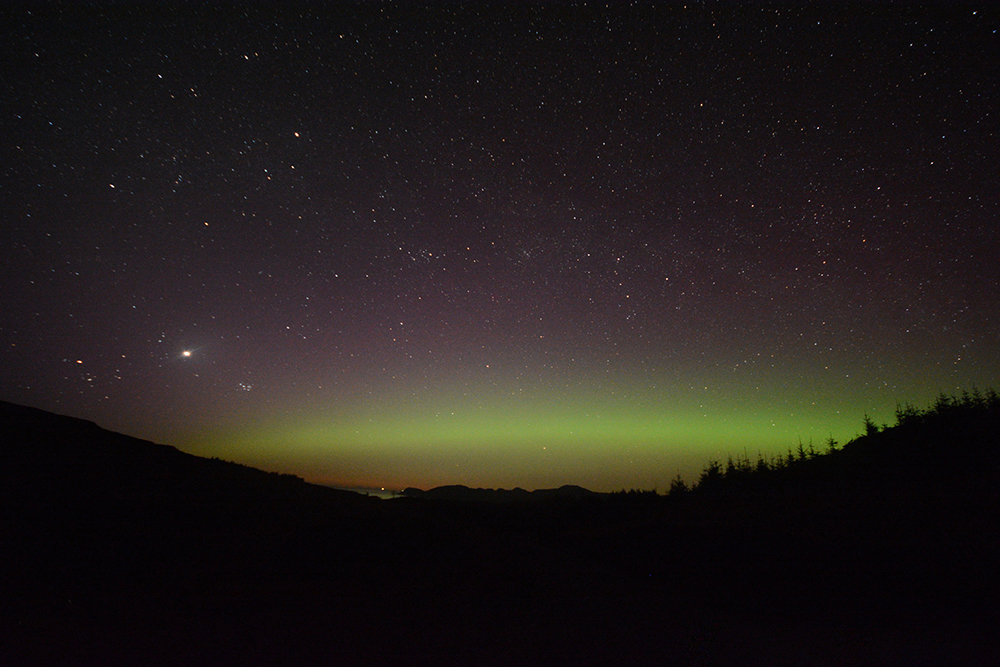 northern lights over mull