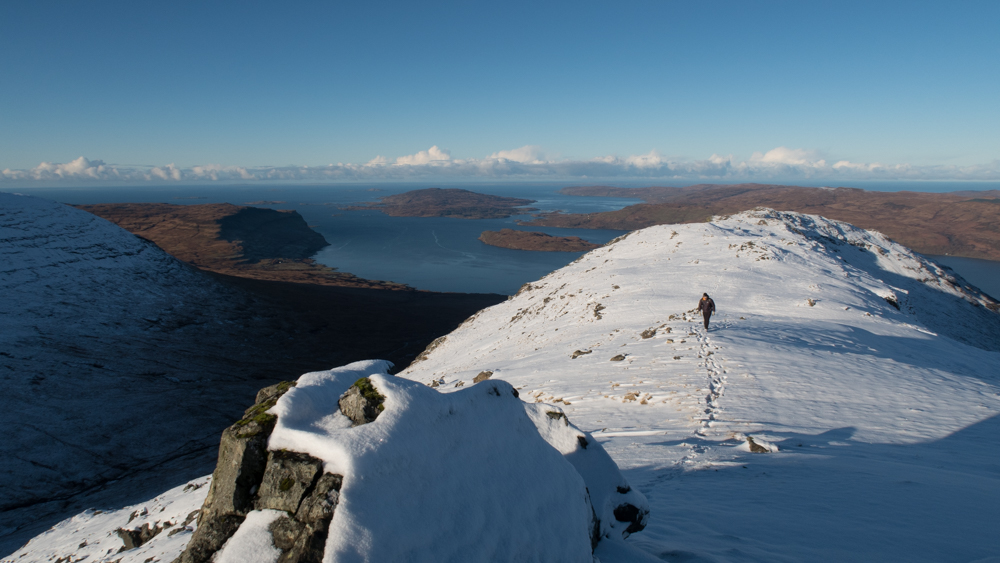 Beinn Fhada ridge with a person walking