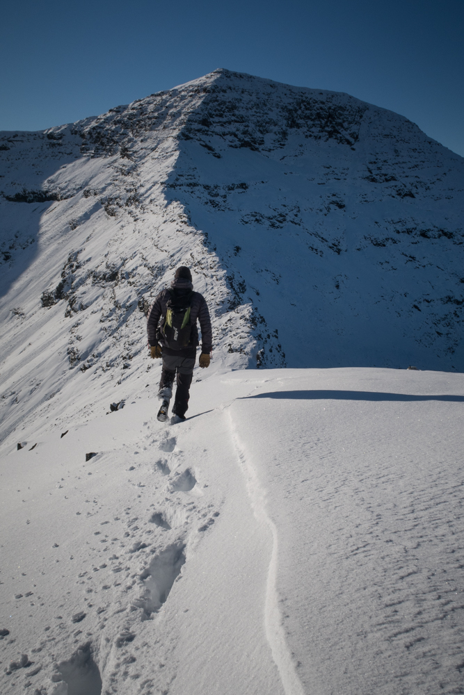 Walker heads towards the Ben More ridge
