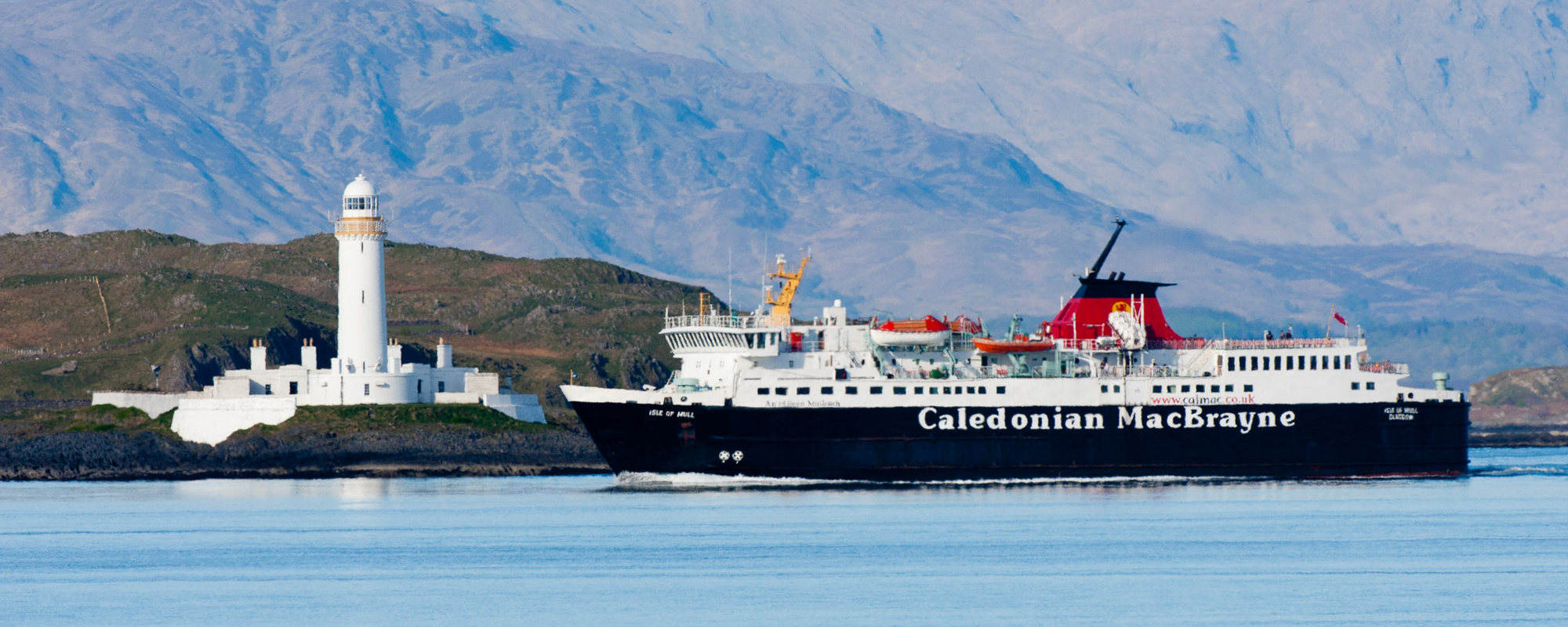 The Isle of Mull Ferry passing Lismore on the sailing to Mull