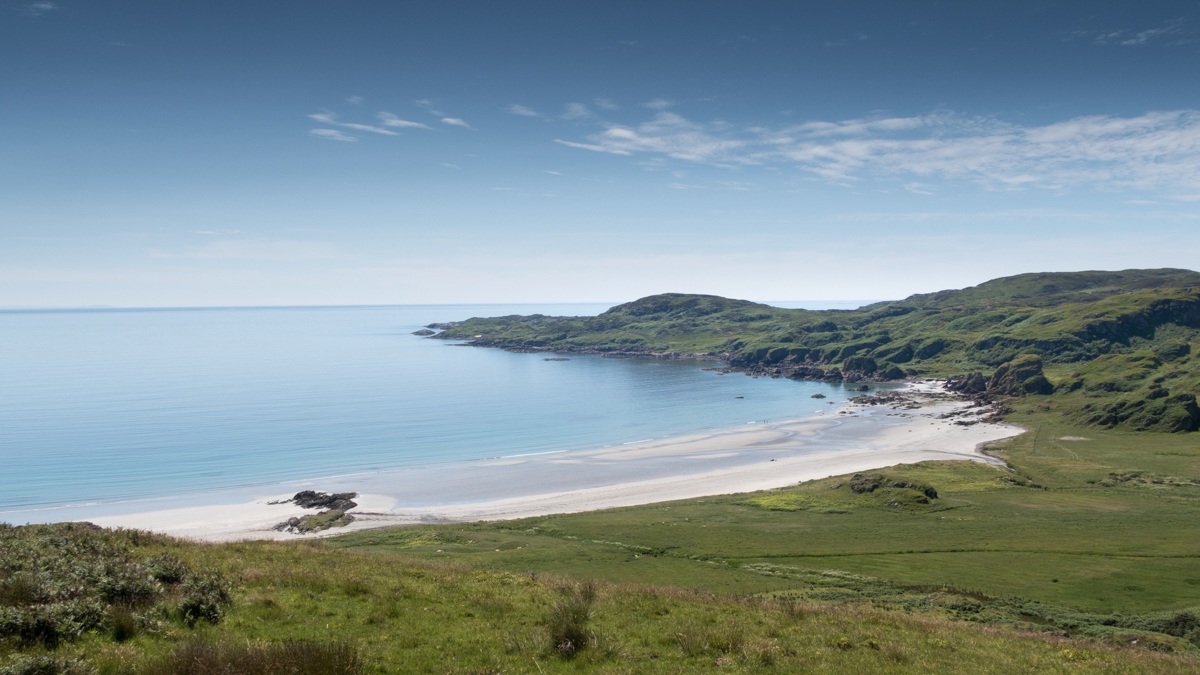 One of Mull's most popular beach walks, Ardalanish beach is a beauty formed with white shell sand and perfect blue waters. Machair blooms in the summer months from this beach in south west Mull.