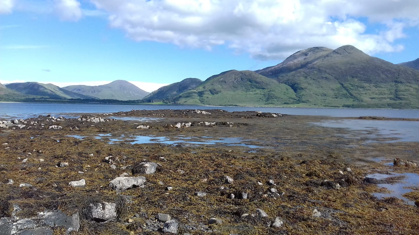 pebble and seaweed shoreline with loch and Isle of Mull mountains behind