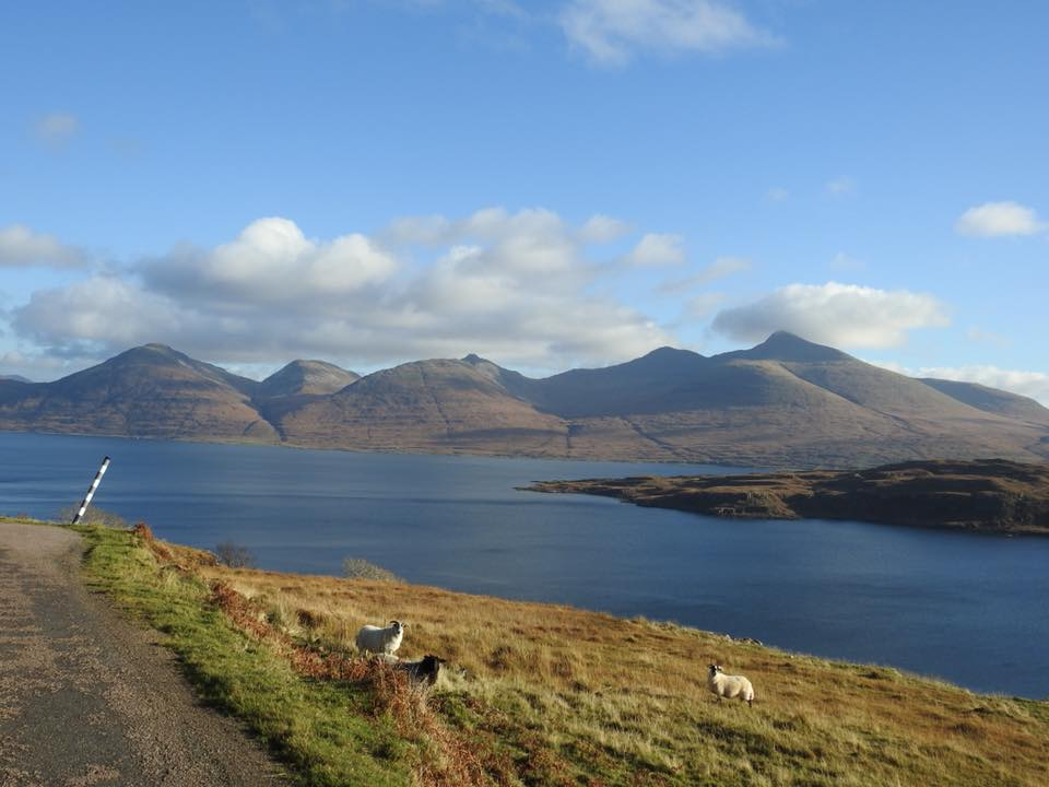 view from land across the sea loch to Ben More over north shore of Loch na Keal