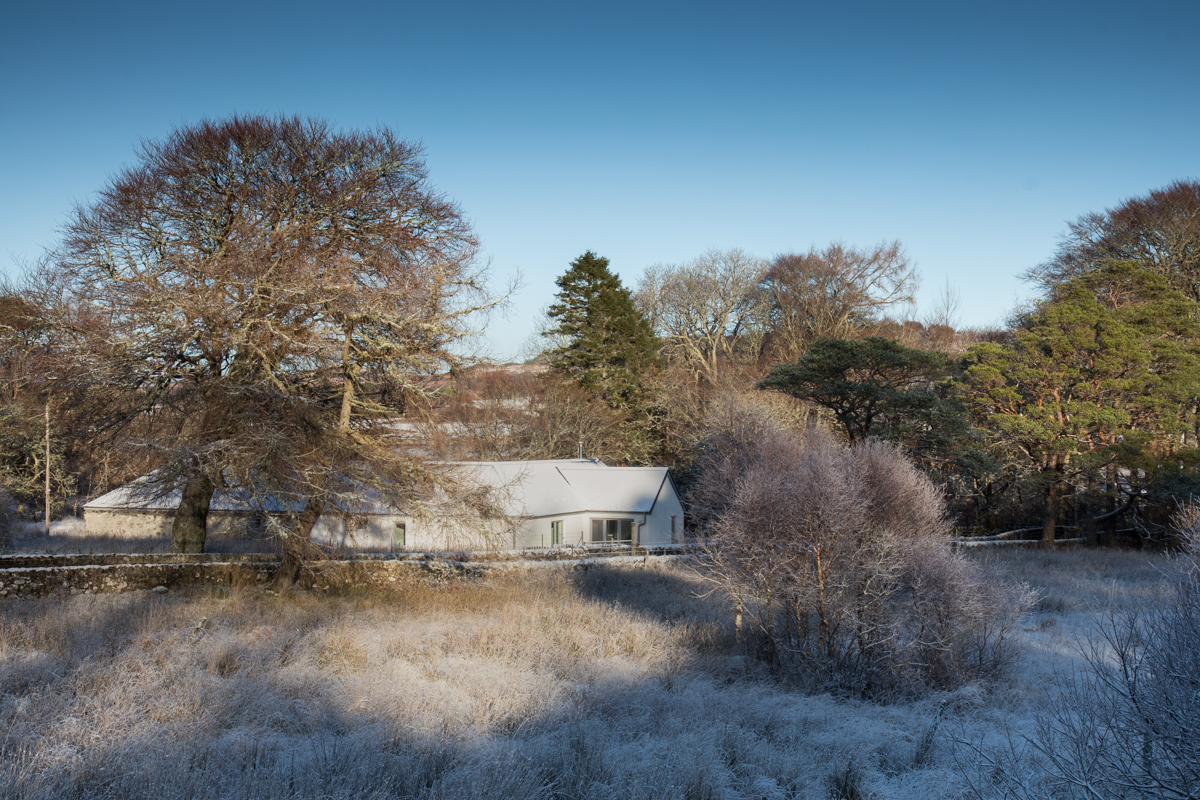 Luxury holiday cottage on Mull, Burn Cottage, pictured in the snow with blue skies