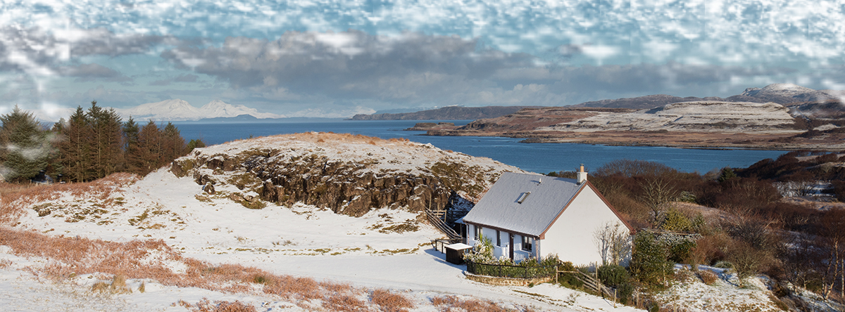 Witch's Cottage, a holiday cottage by the sea on Mull, surrounded by snow in the winter