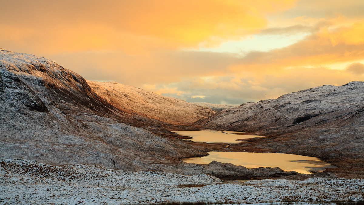 The Three Lochs virwpoint in Glen More, Isle of Mull, winter sunset
