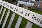 A bench on Iona urges visitors to relax!