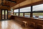 The inside of the impressive Loch Torr wildlife hide