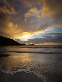 Winter sunset at Calgary beach in Mull's north west
