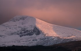 Snow capped Ben More at sunset