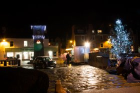 Christmas lights at Tobermory pier
