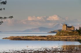 Duart castle as seen looking across Duart bay