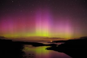 Looking at the northern lights from Croig on Mull's north coast in winter.