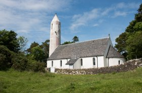 The distinctive Kilmore church in Dervaig in north Mull