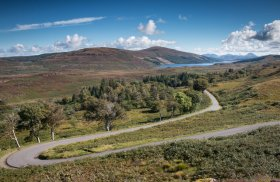 Winding road in north Mull with loch Frisa in the distance