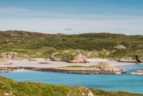 Rocky coast and sandy beaches on the Ross of Mull