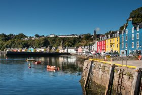 Painted colourful buildings in Tobermory on Mull