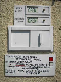 Sign to call Ulva ferry