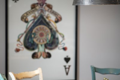 Characterful artworks fill the property, where artist Jolomo was once resident