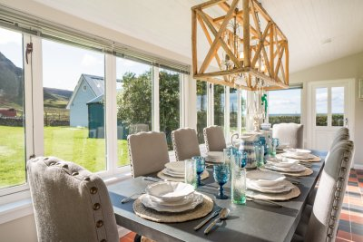 Dine with a sea view as raptors fly across the cliffs beside you at Balmeanach Farmhouse