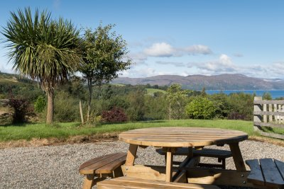 Picnic bench with a view at Brightwater Lodge