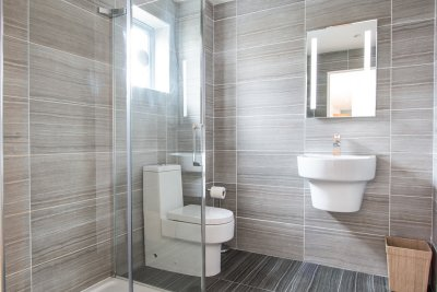 Bathroom with large walk in shower on the ground floor