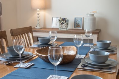 Dining room set for a family meal
