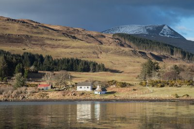 Position by the loch with Fisherman's Bothy next door and Ben More as a backdrop