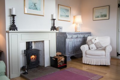 Cosy wood burning stove in the living area