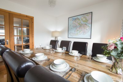 Dining table and map of Mull