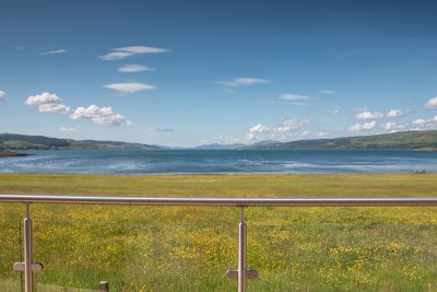 Excellent views from the decking of the Sound of Mull - watch the boats come and go