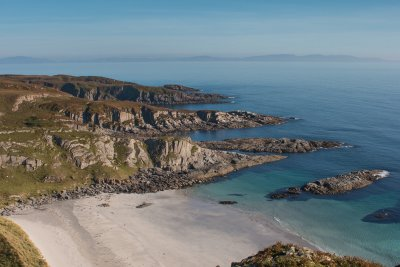 A large white sandy bay on the Ross of Mull's south coast