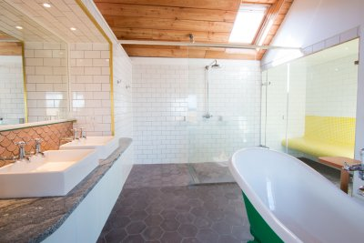 Ensuite to master double ensuite with walk in shower, clawfoot bath, twin basins and w.c.
