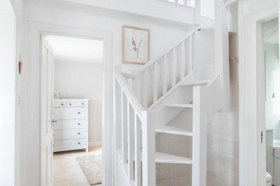 Staircase leading to second double bedroom