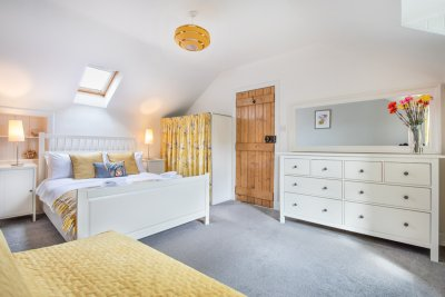 Second double bedroom in Spey Cottage, with fold out sofa bed (so will convert to a twin room)