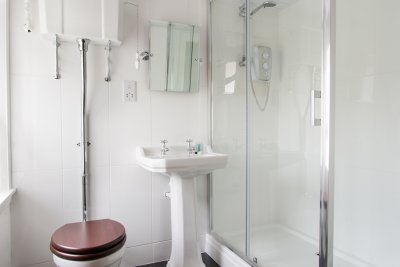 Contemporary bathroom with large shower unit