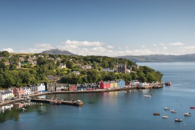 Tobermory harbour, Lismore Apartment is in the red building