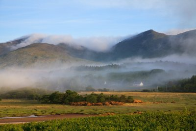 Morning mists hanging on the Mull hills