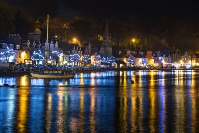 Tobermory at night with the Christmas lights