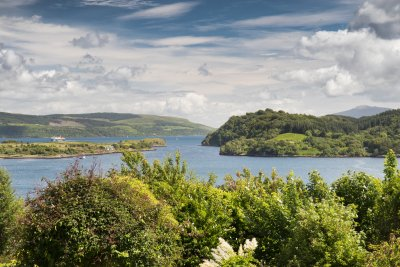 The view from the garden of Ulva House across the Sound of Mull