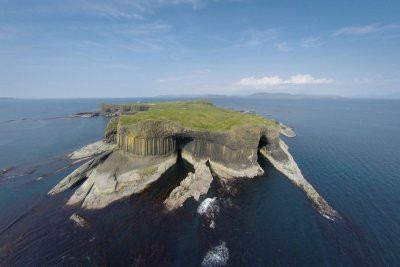 Staffa and The Great Face as seen from the air
