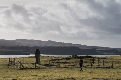 The standing stones passed on the walk from Dervaig