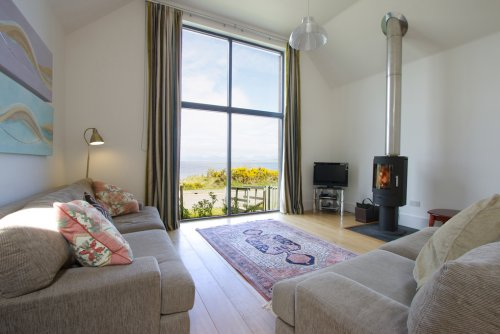 Living Room at Craignure Bay House with wood burning stove