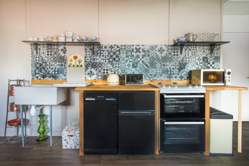 The compact and quirky kitchen provides all you need to self cater