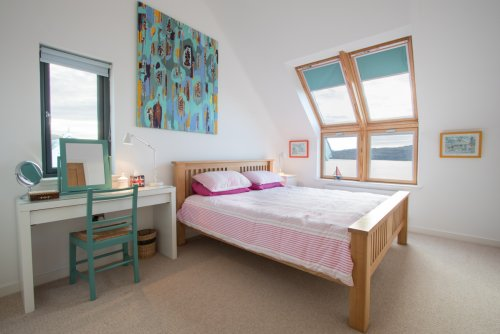 Upstairs double bedroom with amazing sea views