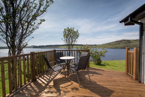 Decking beside the cottage with great views