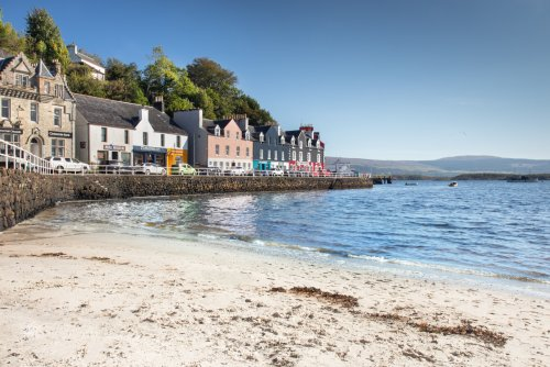 The view from Tobermory Beach, looking along the Main Street